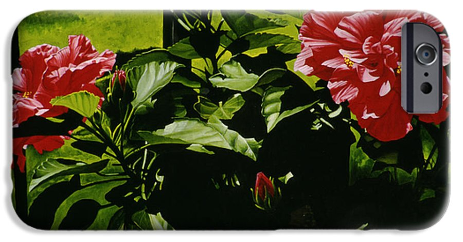 Floral IPhone 6 Case featuring the painting Red Hibiscus by Gary Hernandez