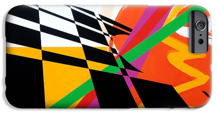 Abstract IPhone 6 Case featuring the painting Red Movement by Jean Pierre Rousselet