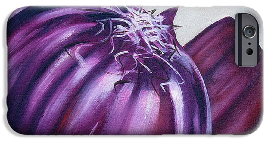 Onion IPhone 6 Case featuring the painting Red Onion by Ilse Kleyn