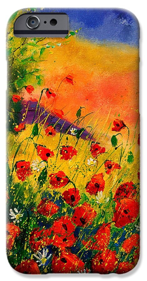 Poppies IPhone 6 Case featuring the painting Red Poppies 45 by Pol Ledent
