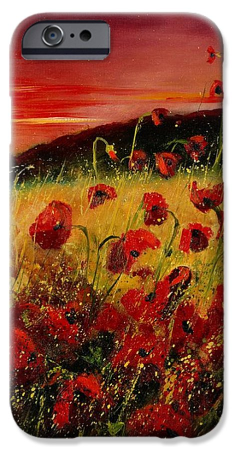 Poppies IPhone 6 Case featuring the painting Red Poppies And Sunset by Pol Ledent