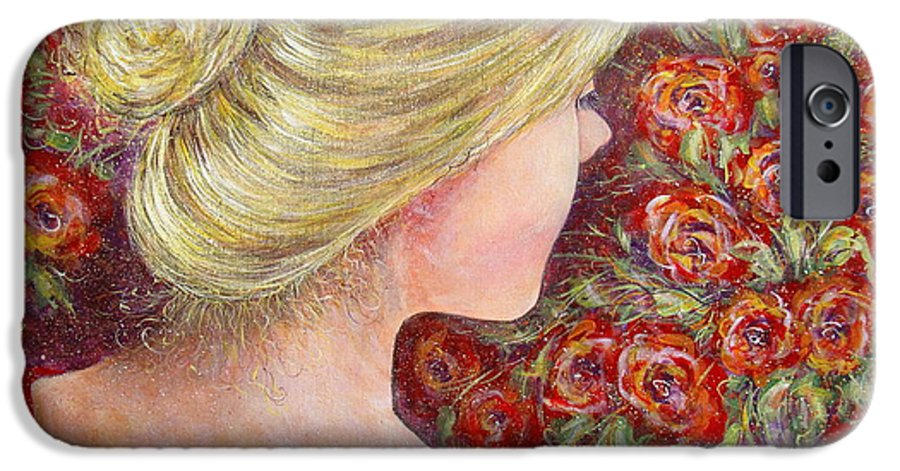 Female IPhone 6 Case featuring the painting Red Scented Roses by Natalie Holland