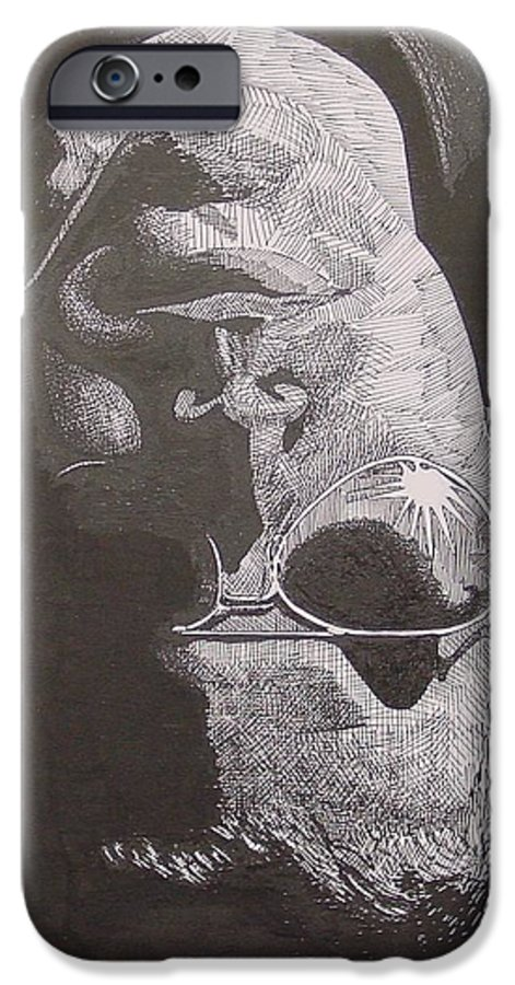 Portraiture IPhone 6 Case featuring the drawing Reflection by Denis Gloudeman