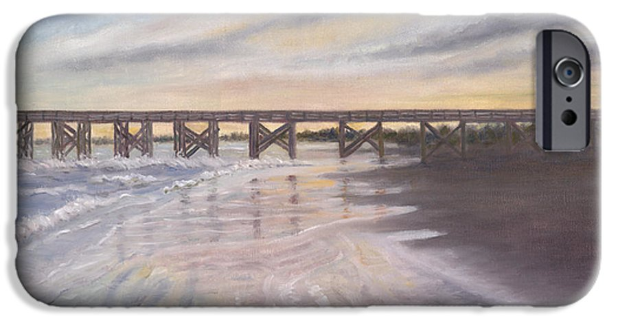 Beach; Pier; Low Country IPhone 6 Case featuring the painting Reflections by Ben Kiger