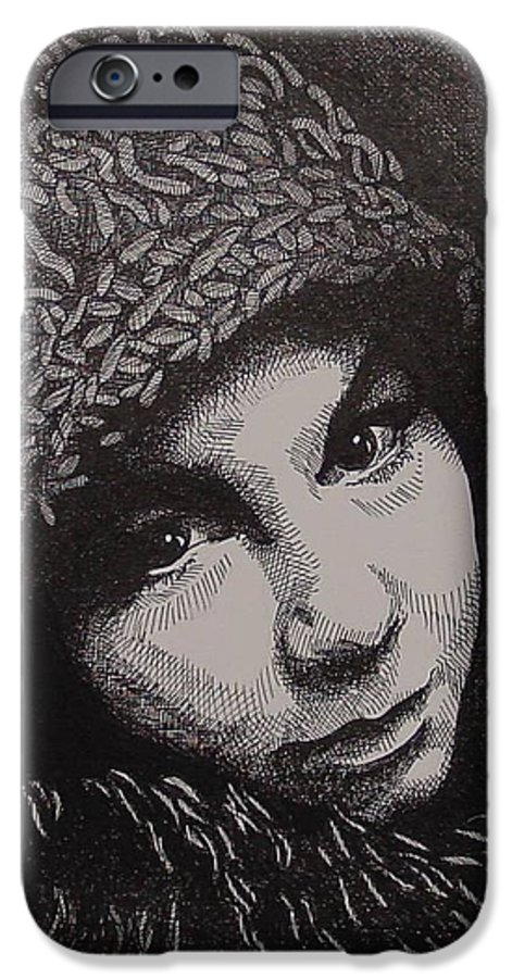 Portraiture IPhone 6 Case featuring the drawing Rena by Denis Gloudeman