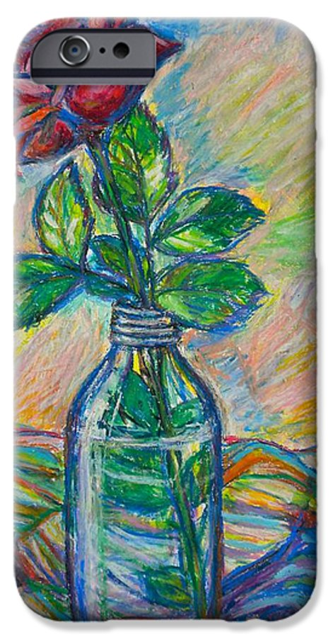 Still Life IPhone 6 Case featuring the painting Rose In A Bottle by Kendall Kessler