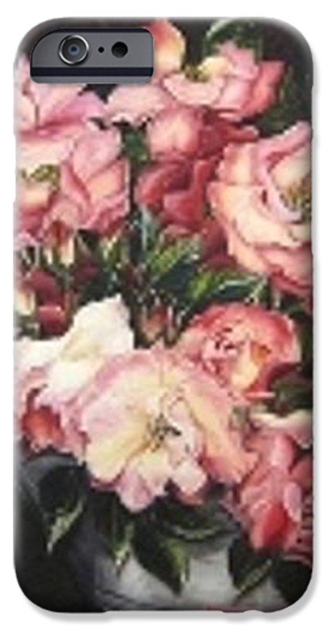 Pink Roses Floral Flowers IPhone 6 Case featuring the painting Roses In A Watercan by Karin Dawn Kelshall- Best