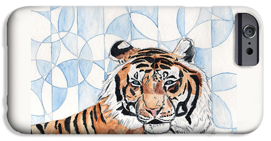 Tiger IPhone 6 Case featuring the painting Royal Mysticism by Crystal Hubbard