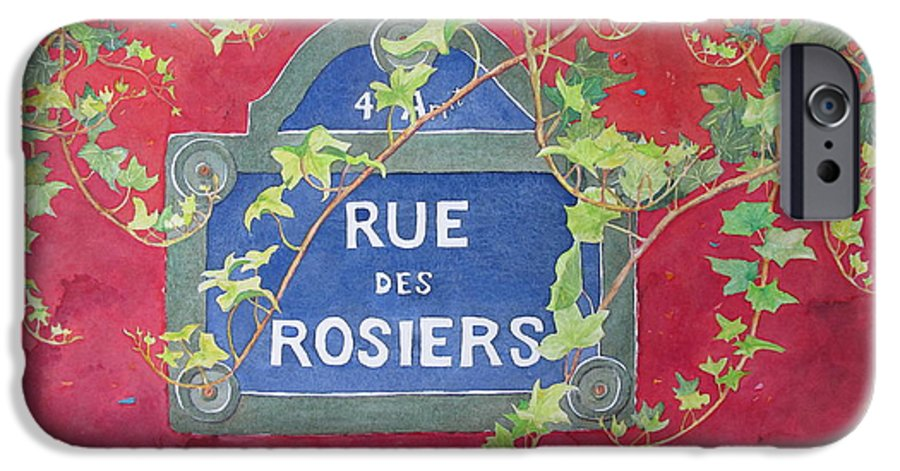 Red Wall IPhone 6 Case featuring the painting Rue Des Rosiers In Paris by Mary Ellen Mueller Legault