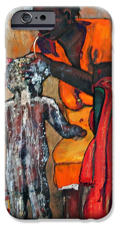 Mom Bathing Boy IPhone 6 Case featuring the painting Saturday Night Bath by Peggy Blood