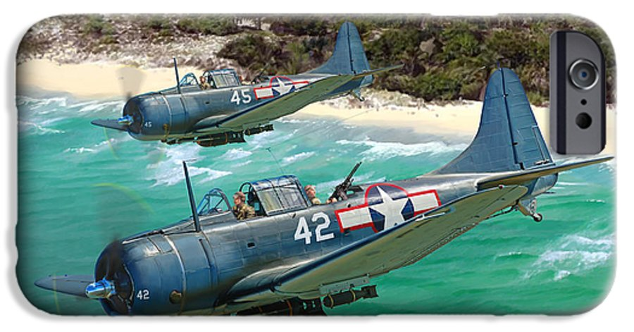 Aviation IPhone 6 Case featuring the painting Sbd Dauntless by Mark Karvon