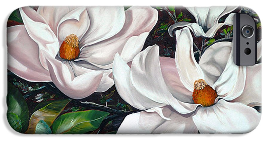 Magnolia Painting Flower Painting Botanical Painting Floral Painting Botanical Bloom Magnolia Flower White Flower Greeting Card Painting IPhone 6 Case featuring the painting Scent Of The South. by Karin Dawn Kelshall- Best