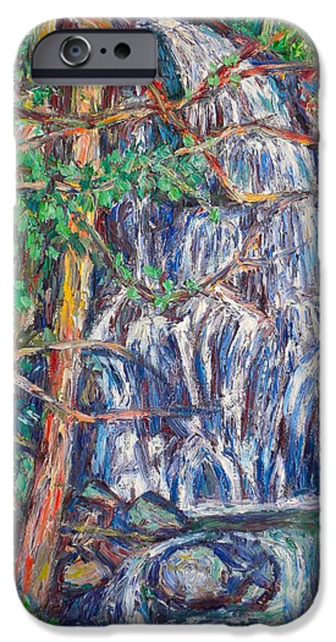 Waterfall IPhone 6 Case featuring the painting Secluded Waterfall by Kendall Kessler