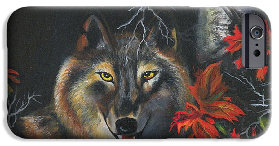 Wolf IPhone 6 Case featuring the painting Seneca by Lora Duguay