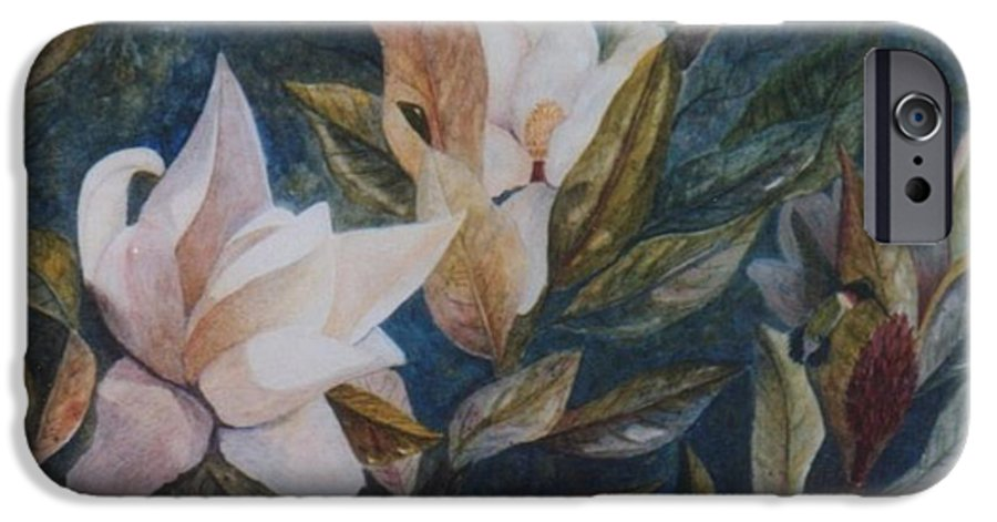 Magnolias; Humming Bird IPhone 6 Case featuring the painting Serenity by Ben Kiger