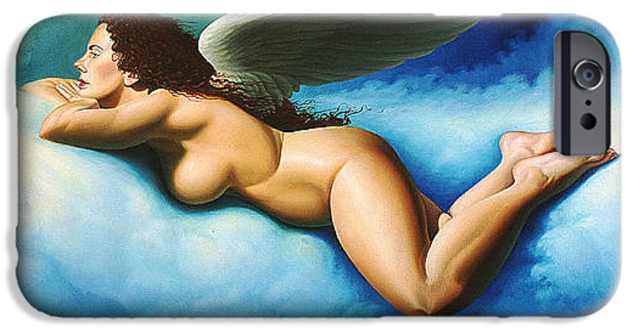 Winged Angel Floating On Blue White Clouds IPhone 6 Case featuring the painting Serenity by Gary Hernandez