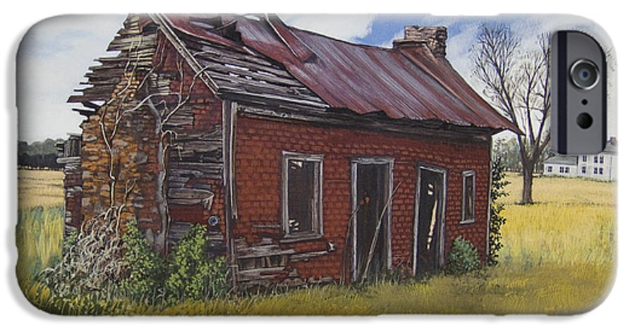 Landscape IPhone 6 Case featuring the painting Sharecroppers Shack by Peter Muzyka