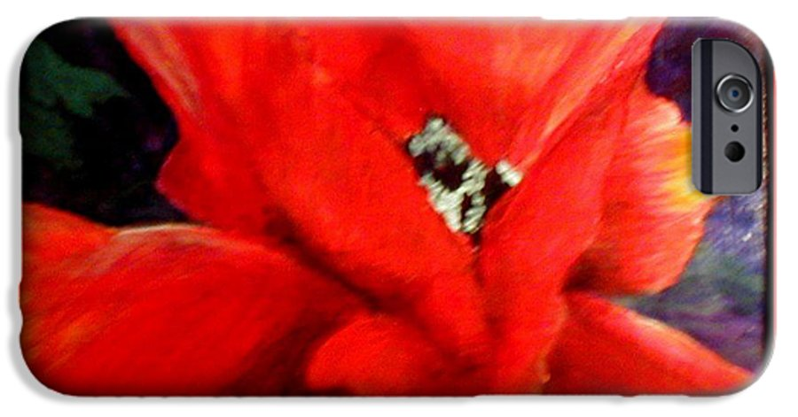 Floral IPhone 6 Case featuring the painting She Wore Red Ruffles by Gail Kirtz