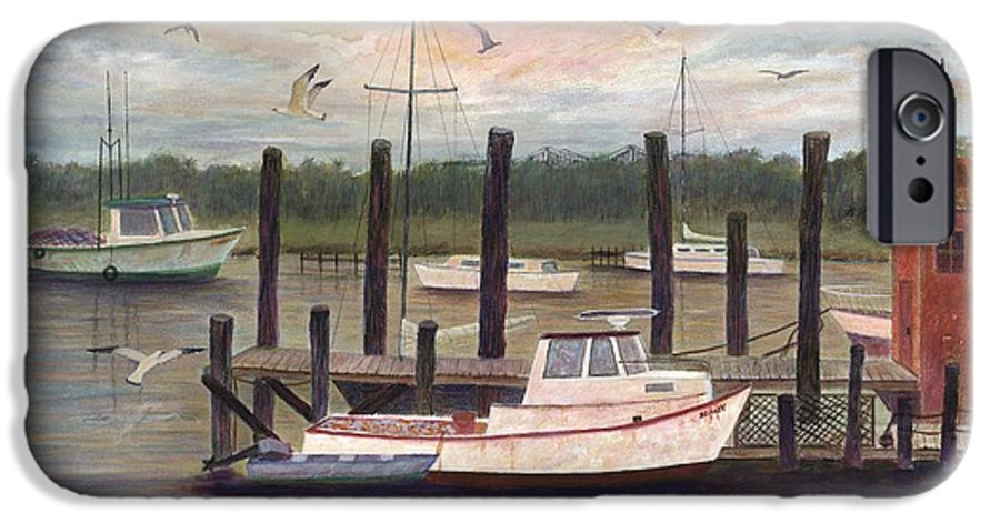 Charleston; Boats; Fishing Dock; Water IPhone 6 Case featuring the painting Shem Creek by Ben Kiger