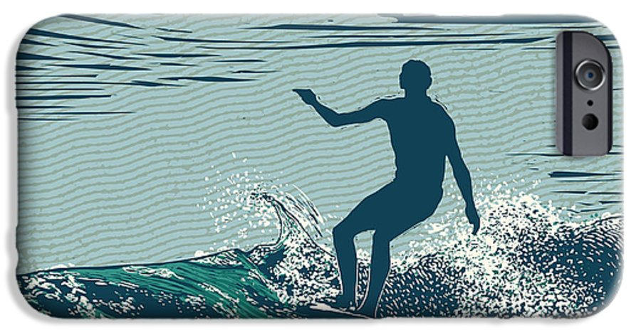 Symbol IPhone 6 Case featuring the digital art Silhouette Surfer And Big Wave by Jumpingsack
