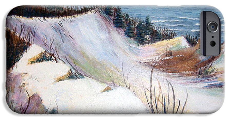 Snow IPhone 6 Case featuring the painting Snow On The Dunes by Art Nomad Sandra Hansen