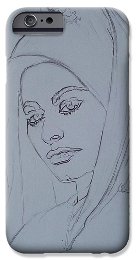 Woman IPhone 6 Case featuring the drawing Sophia Loren In Headdress by Sean Connolly