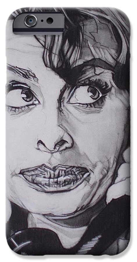 Charcoal;icon;actress;diva;italian;cat Eyes;beautiful;cute;adorable IPhone 6 Case featuring the drawing Sophia Loren Telephones by Sean Connolly