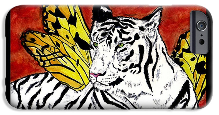 Tiger IPhone 6 Case featuring the painting Soul Rhapsody by Crystal Hubbard