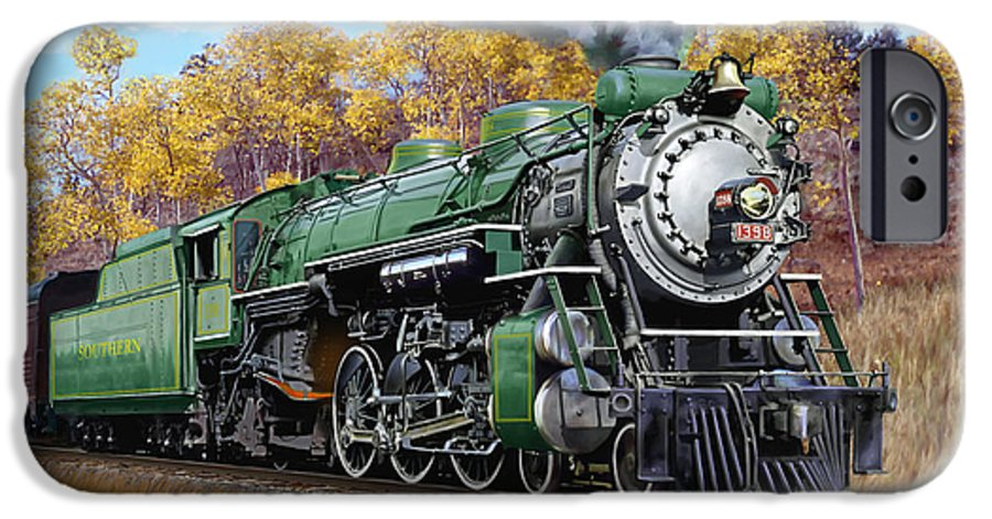 Railraod IPhone 6 Case featuring the painting Southern Railway Class Ps-4 Pacific by Mark Karvon