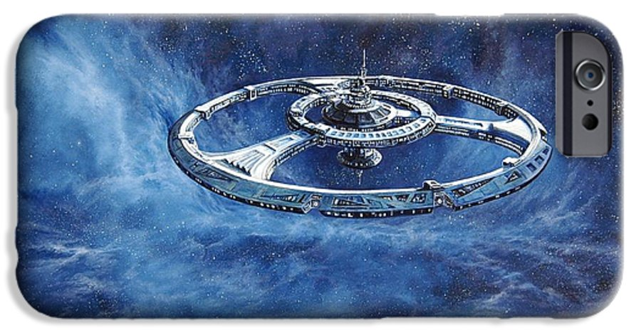Sci-fi IPhone 6 Case featuring the painting Deep Space Eight Station Of The Future by Murphy Elliott