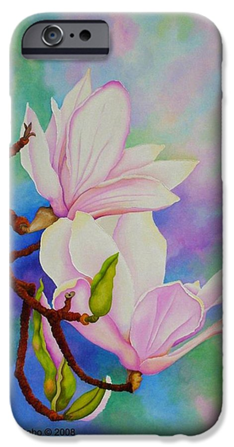 Pastels IPhone 6 Case featuring the painting Spring Magnolia by Carol Sabo