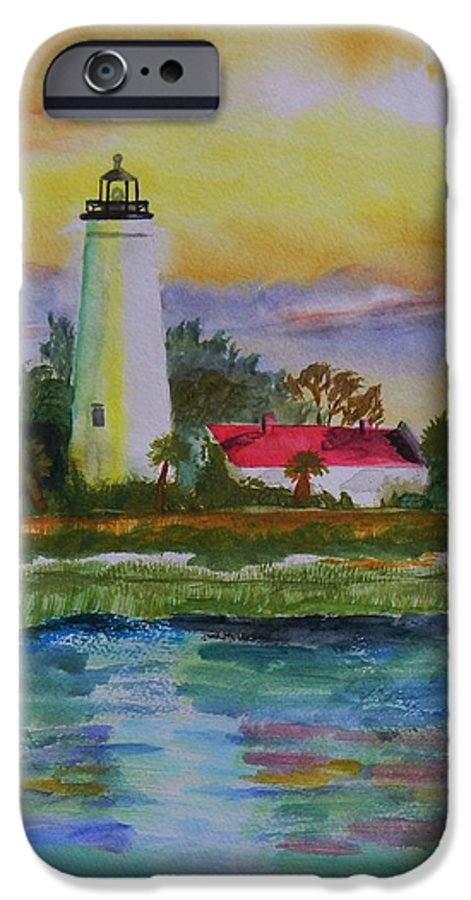Landscape IPhone 6 Case featuring the painting St. Marks Lighthouse-2 by Warren Thompson