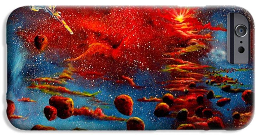 Nova IPhone 6 Case featuring the painting Starberry Nova Alien Excape by Murphy Elliott