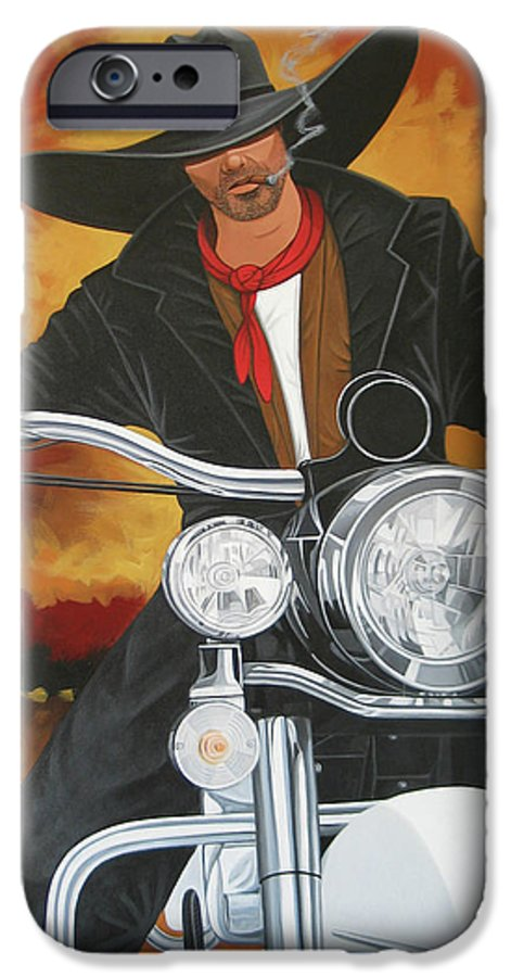 Cowboy On Motorcycle IPhone 6 Case featuring the painting Steel Pony by Lance Headlee