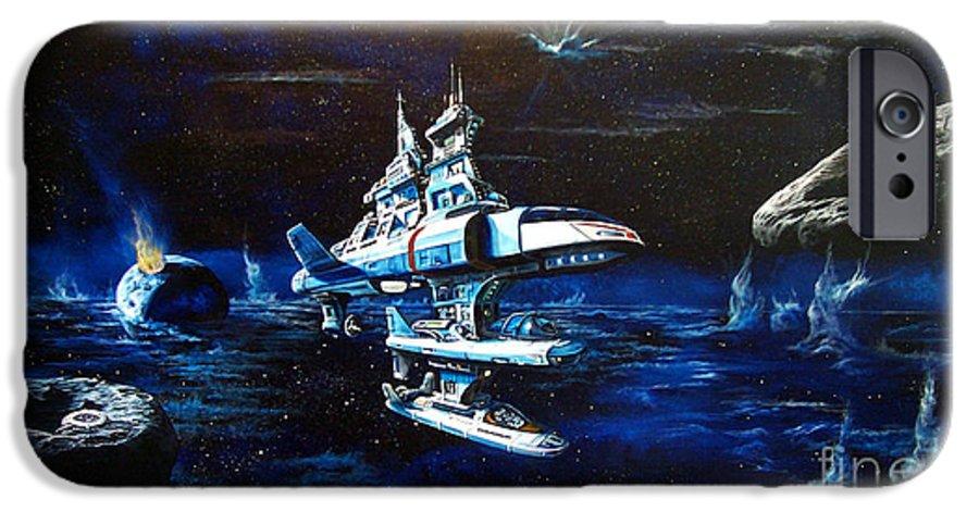 Alien IPhone 6 Case featuring the painting Stellar Cruiser by Murphy Elliott