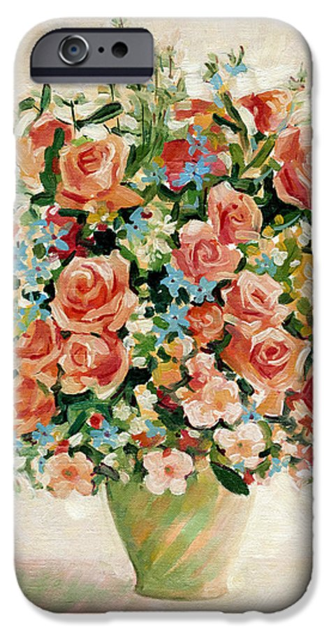 Flowers IPhone 6 Case featuring the painting Still Life With Roses by Iliyan Bozhanov