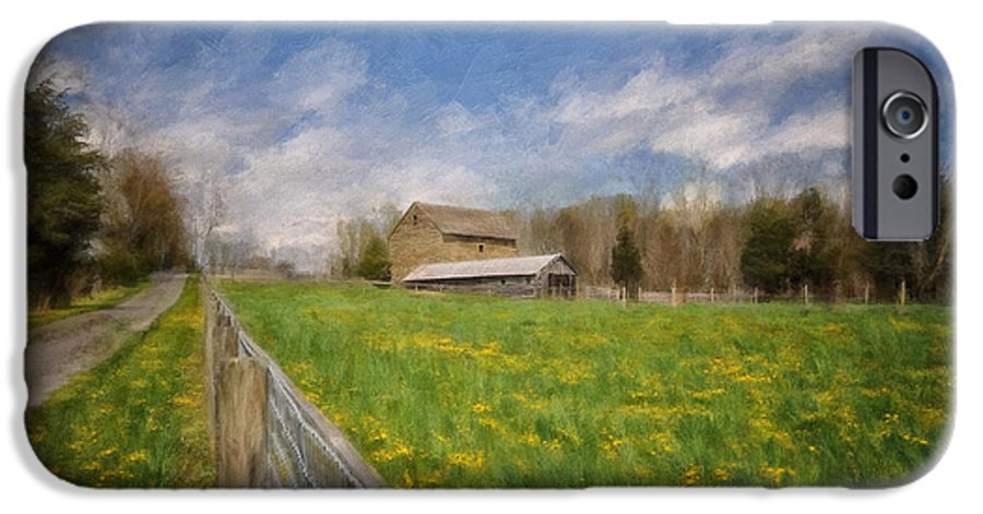 Barn IPhone 6 Case featuring the photograph Stone Barn On A Spring Morning by Lois Bryan