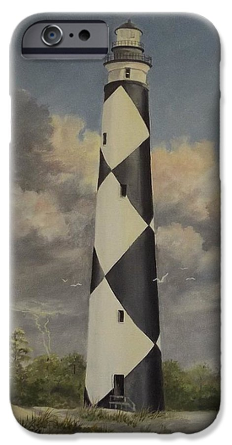 Stormy Skys IPhone 6 Case featuring the painting Storm Over Cape Fear by Wanda Dansereau