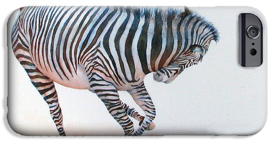 Zebra IPhone 6 Case featuring the painting Stripes IIi by Patricia Henderson