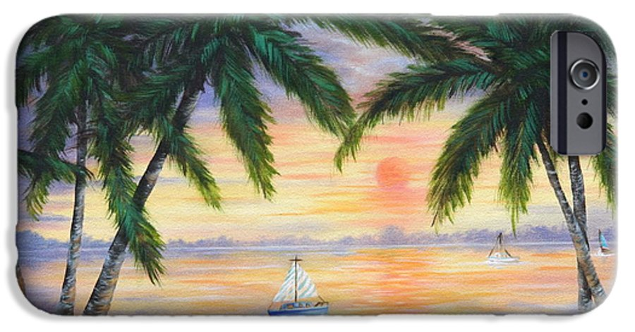 Seascape IPhone 6 Case featuring the painting Summer Sunset by Ruth Bares