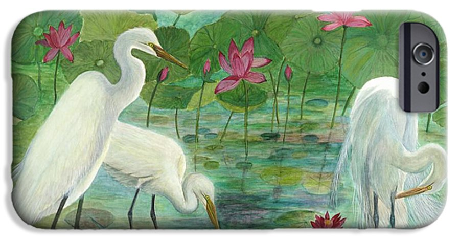 Lily Pads; Egrets; Low Country IPhone 6 Case featuring the painting Summer Trilogy by Ben Kiger