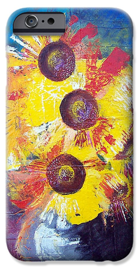 Flowers IPhone 6 Case featuring the painting Sunflowers In Blue Vase by Valerie Wolf