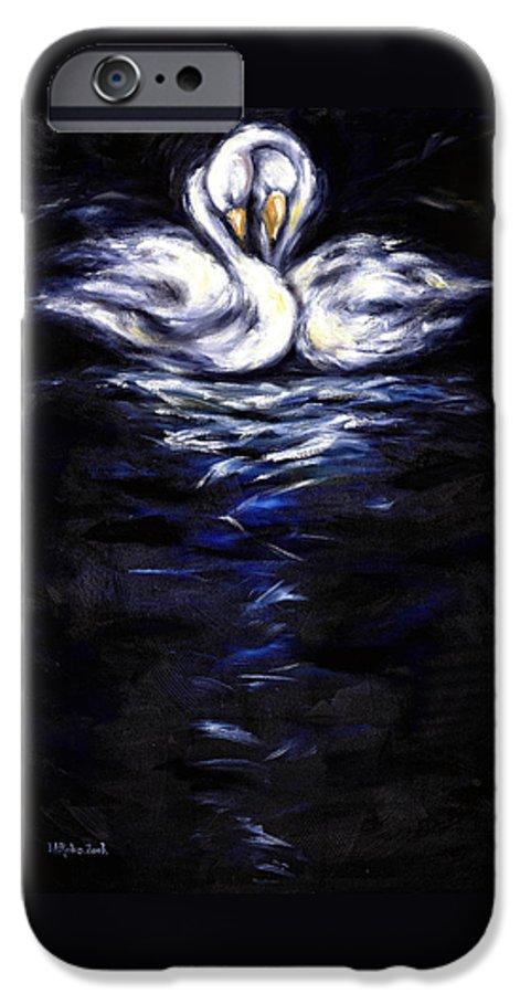Bird IPhone 6 Case featuring the painting Swan by Hiroko Sakai