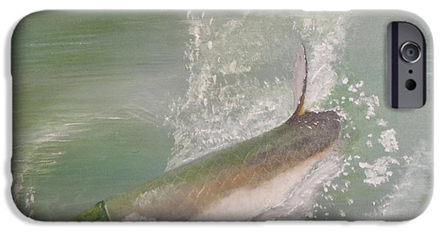 Tarpon Breaking Water IPhone 6 Case featuring the painting Tarpon Breaking Water by Tony Rodriguez