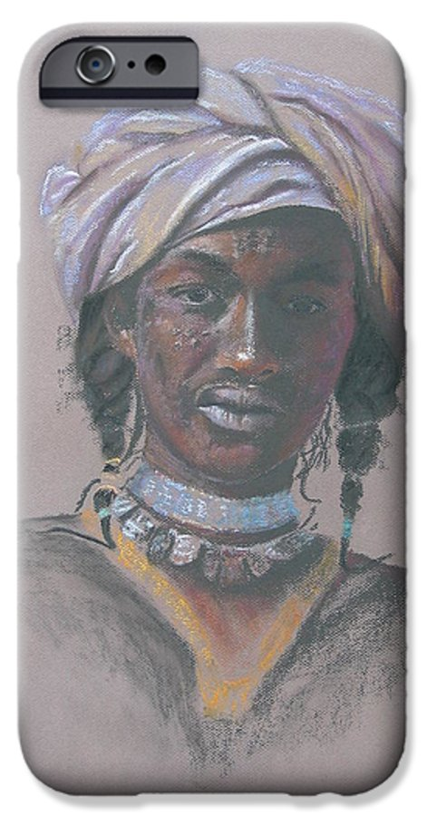 Portrait IPhone 6 Case featuring the painting Tchad Warrior by Maruska Lebrun