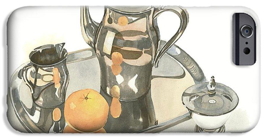 Tea Service With Orange IPhone 6 Case featuring the painting Tea Service With Orange by Kip DeVore