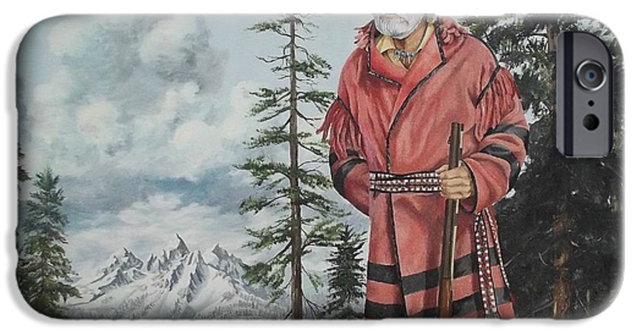 Landscape IPhone 6 Case featuring the painting Terry The Mountain Man by Wanda Dansereau