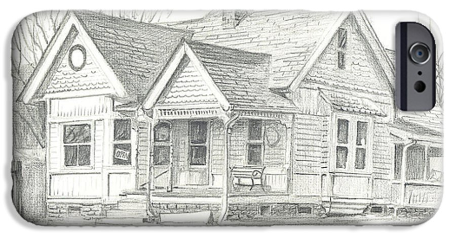 The Antique Shop IPhone 6 Case featuring the drawing The Antique Shop by Kip DeVore