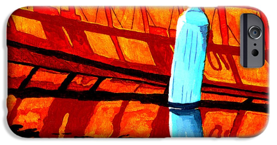 Canoe IPhone 6 Case featuring the painting The Blue Fender by Anthony Dunphy