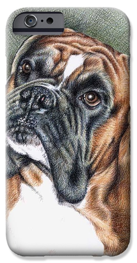 Dog IPhone 6 Case featuring the drawing The Boxer by Nicole Zeug